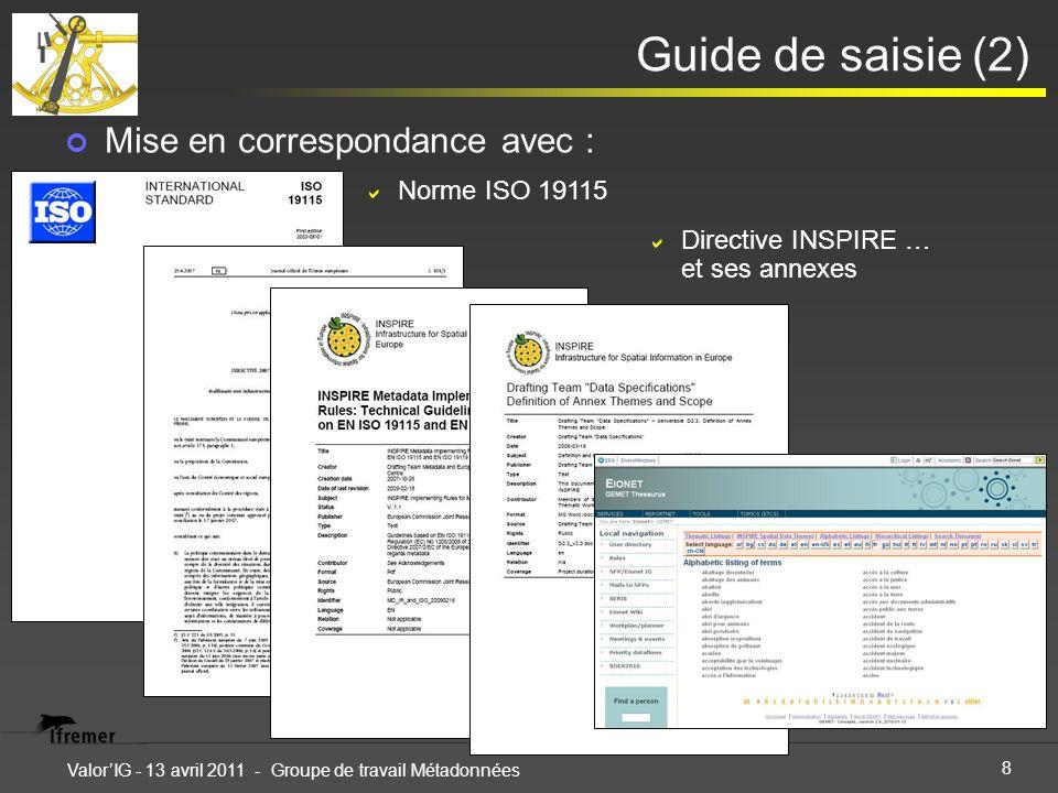 8 ValorIG - 13 avril 2011 - Groupe de travail Métadonnées Guide de saisie (2) Mise en correspondance avec : Norme ISO 19115 Directive INSPIRE … et ses annexes