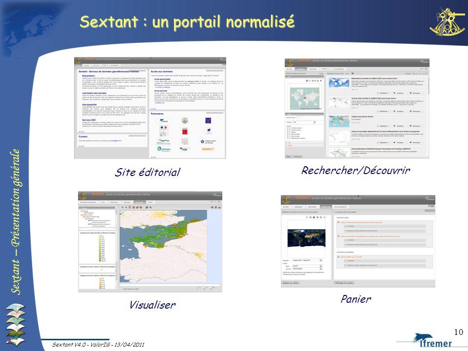 Sextant – Présentation générale Sextant V4.0 - ValorIG - 13/04/2011 10 Sextant : un portail normalisé Rechercher/Découvrir Visualiser Panier Site édit