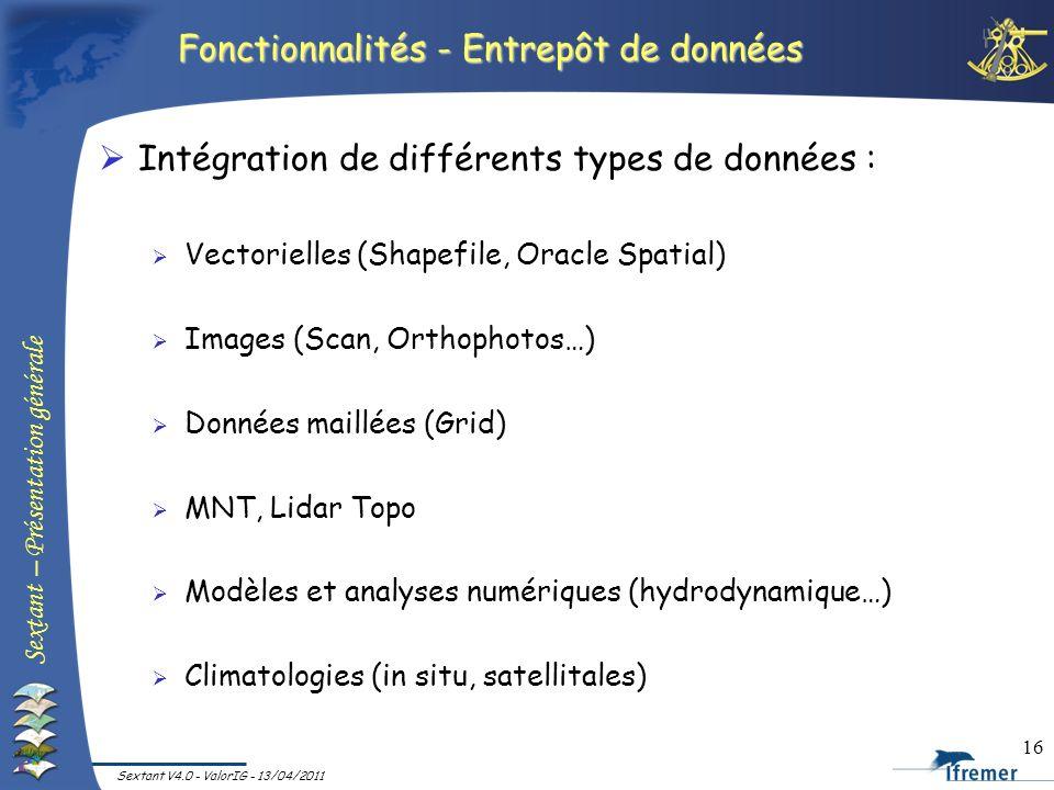 Sextant – Présentation générale Sextant V4.0 - ValorIG - 13/04/2011 16 Fonctionnalités - Entrepôt de données Intégration de différents types de donnée
