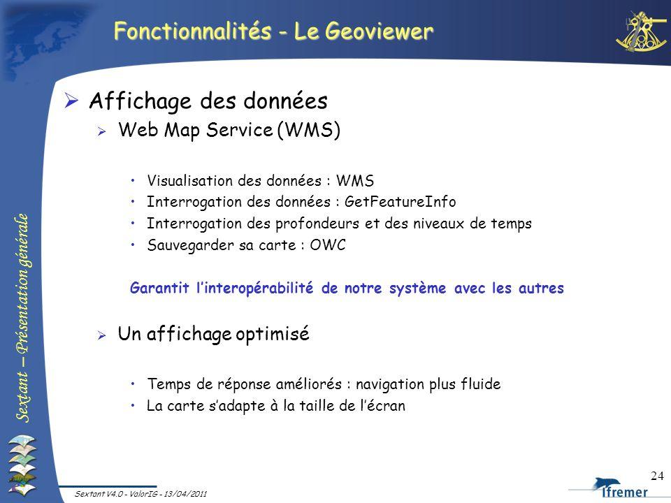 Sextant – Présentation générale Sextant V4.0 - ValorIG - 13/04/2011 24 Fonctionnalités - Le Geoviewer Affichage des données Web Map Service (WMS) Visu