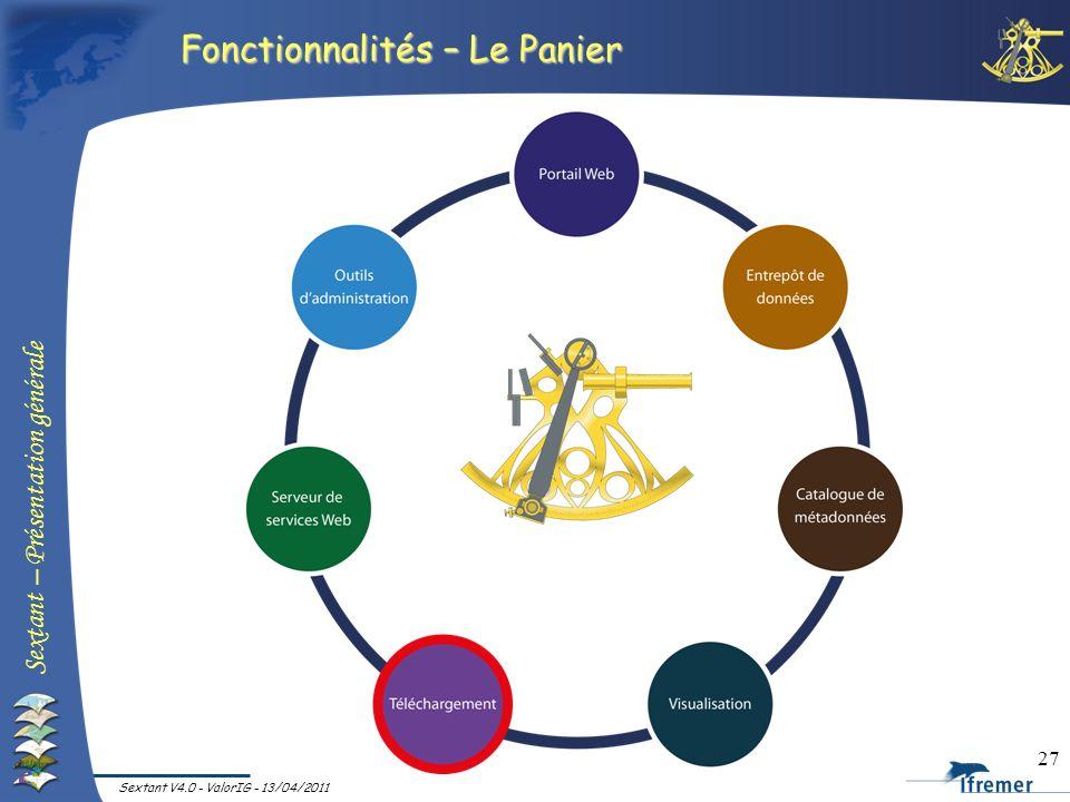 Sextant – Présentation générale Sextant V4.0 - ValorIG - 13/04/2011 27 Fonctionnalités – Le Panier