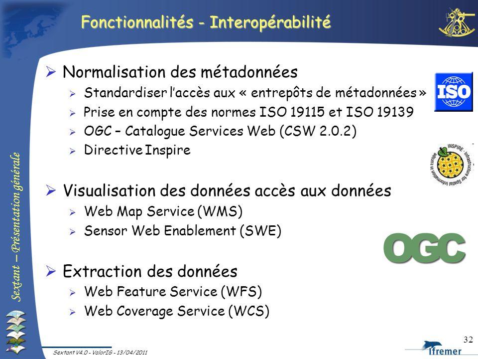 Sextant – Présentation générale Sextant V4.0 - ValorIG - 13/04/2011 32 Fonctionnalités - Interopérabilité Normalisation des métadonnées Standardiser l