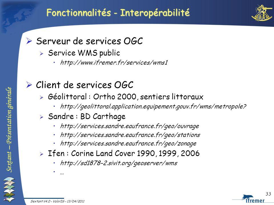 Sextant – Présentation générale Sextant V4.0 - ValorIG - 13/04/2011 33 Fonctionnalités - Interopérabilité Serveur de services OGC Service WMS public h