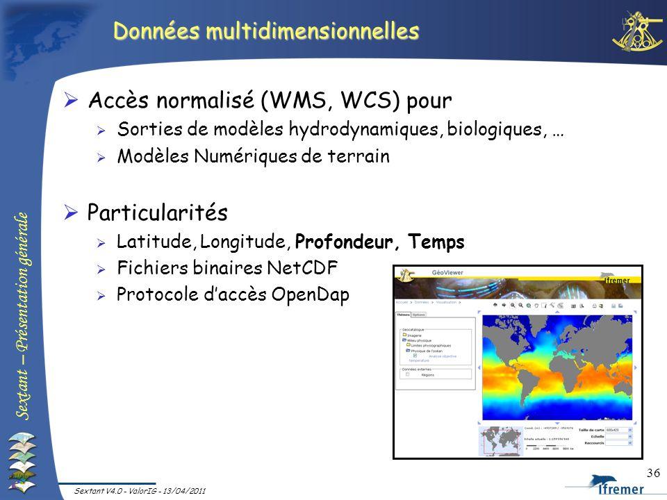 Sextant – Présentation générale Sextant V4.0 - ValorIG - 13/04/2011 36 Données multidimensionnelles Accès normalisé (WMS, WCS) pour Sorties de modèles