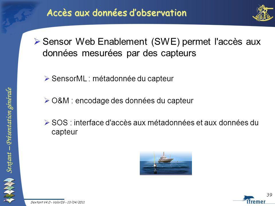 Sextant – Présentation générale Sextant V4.0 - ValorIG - 13/04/2011 39 Sensor Web Enablement (SWE) permet l'accès aux données mesurées par des capteur