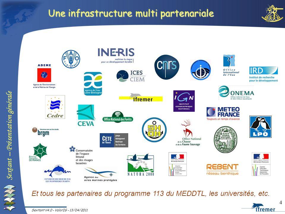 Sextant – Présentation générale Sextant V4.0 - ValorIG - 13/04/2011 4 Une infrastructure multi partenariale Et tous les partenaires du programme 113 d