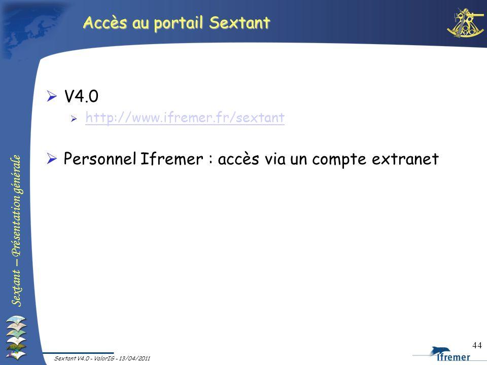 Sextant – Présentation générale Sextant V4.0 - ValorIG - 13/04/2011 44 Accès au portail Sextant V4.0 http://www.ifremer.fr/sextant Personnel Ifremer :