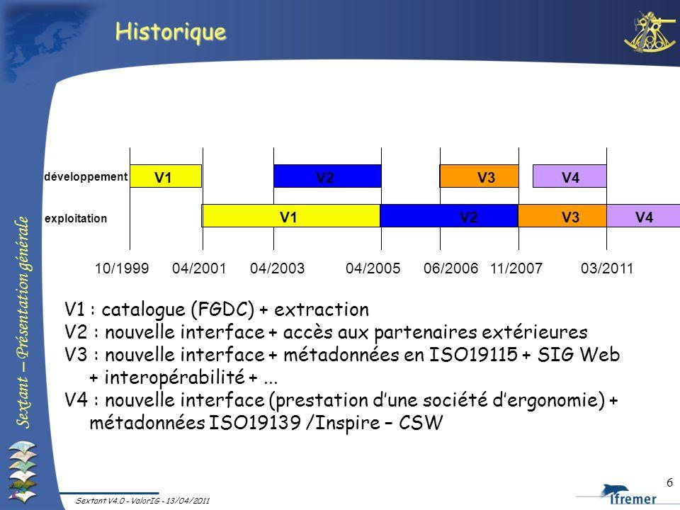 Sextant – Présentation générale Sextant V4.0 - ValorIG - 13/04/2011 6 Historique développement exploitation 10/199904/200104/200506/2006 V1V2 11/2007
