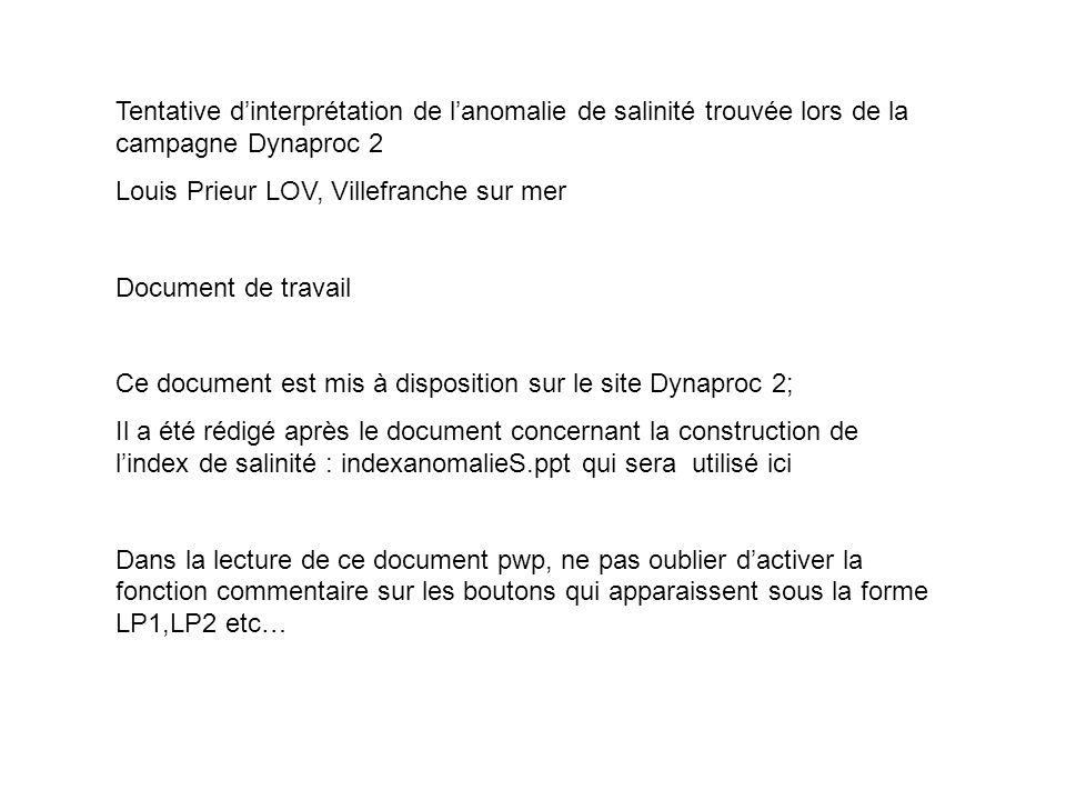 Tentative dinterprétation de lanomalie de salinité trouvée lors de la campagne Dynaproc 2 Louis Prieur LOV, Villefranche sur mer Document de travail C