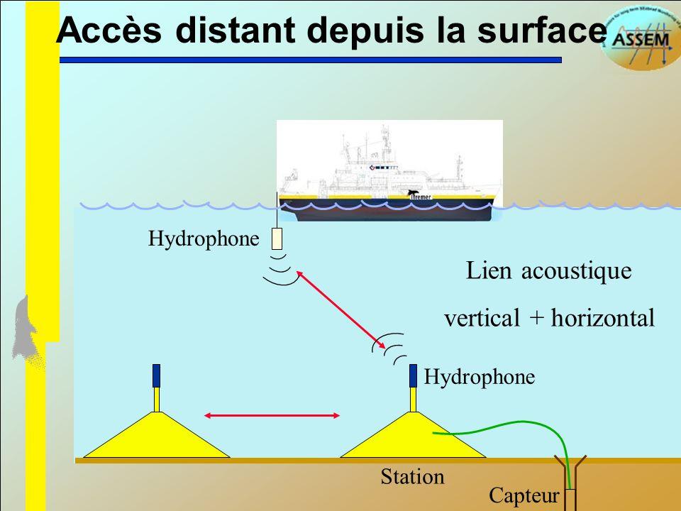 Accès distant depuis la surface Station Capteur Lien acoustique vertical + horizontal Hydrophone