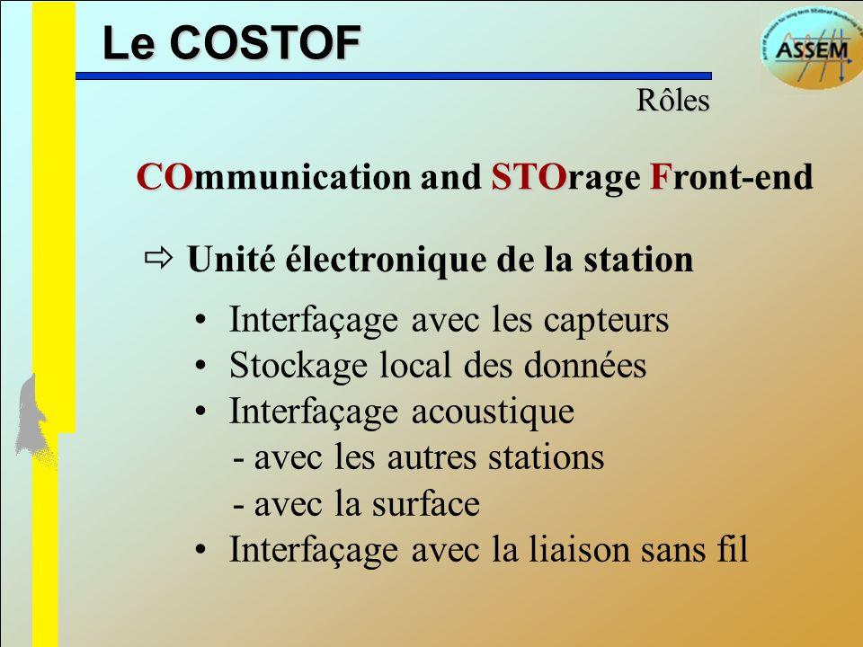 Le COSTOF Interfaçage avec les capteurs Stockage local des données Interfaçage acoustique - avec les autres stations - avec la surface Interfaçage ave