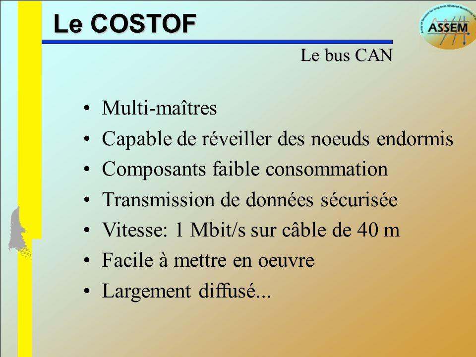 Le COSTOF Multi-maîtres Capable de réveiller des noeuds endormis Composants faible consommation Transmission de données sécurisée Vitesse: 1 Mbit/s su