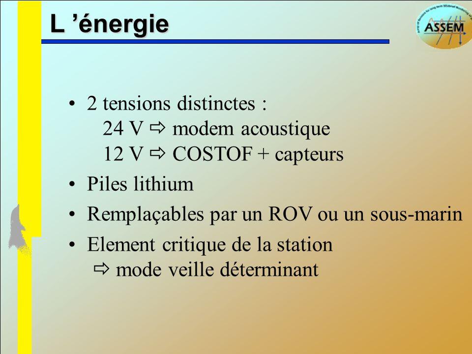 L énergie 2 tensions distinctes : 24 V modem acoustique 12 V COSTOF + capteurs Piles lithium Remplaçables par un ROV ou un sous-marin Element critique
