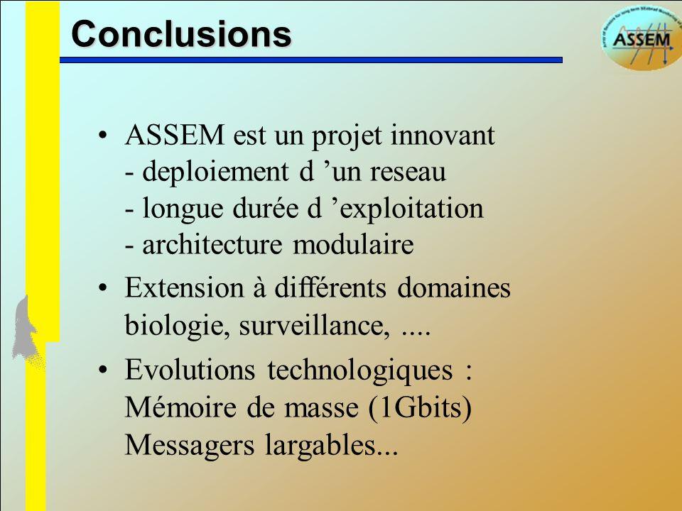 Conclusions ASSEM est un projet innovant - deploiement d un reseau - longue durée d exploitation - architecture modulaire Extension à différents domai