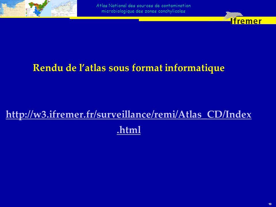 Atlas National des sources de contamination microbiologique des zones conchylicoles 10 Rendu de latlas sous format informatique http://w3.ifremer.fr/s