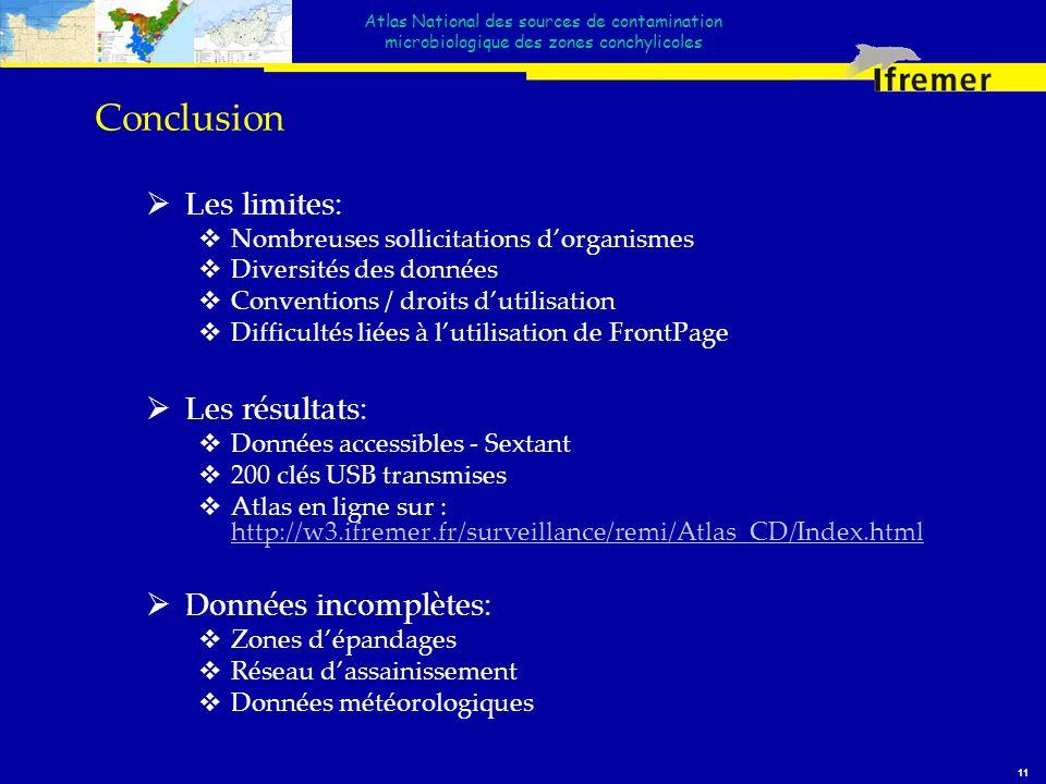 Atlas National des sources de contamination microbiologique des zones conchylicoles 11 Conclusion Les limites: Nombreuses sollicitations dorganismes D