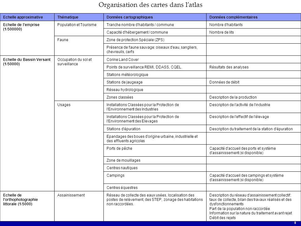 Atlas National des sources de contamination microbiologique des zones conchylicoles 8 Organisation des cartes dans latlas Echelle approximativeThémati