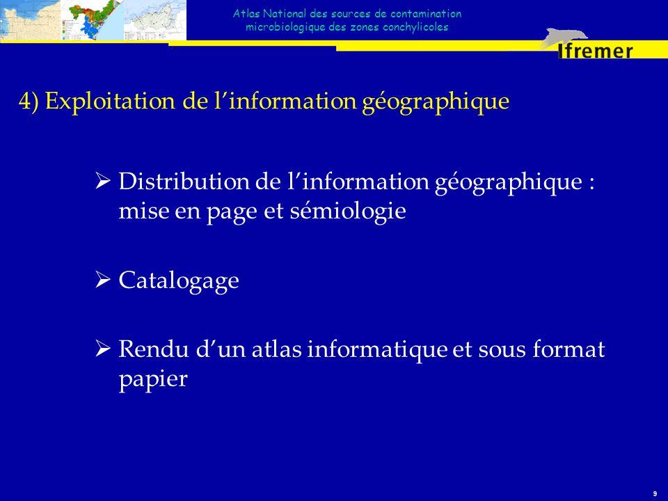 Atlas National des sources de contamination microbiologique des zones conchylicoles 9 4) Exploitation de linformation géographique Distribution de lin