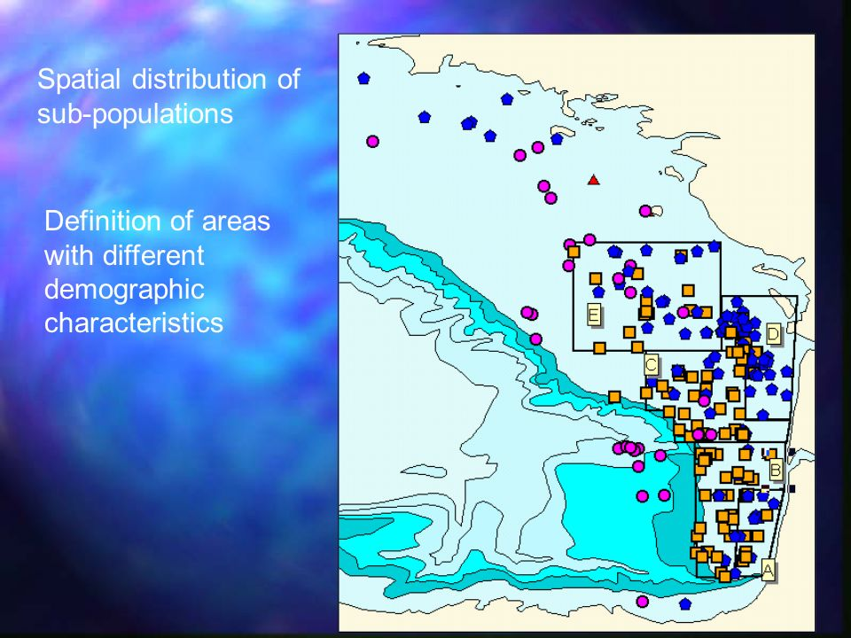 Spatial distribution of sub-populations Definition of areas with different demographic characteristics
