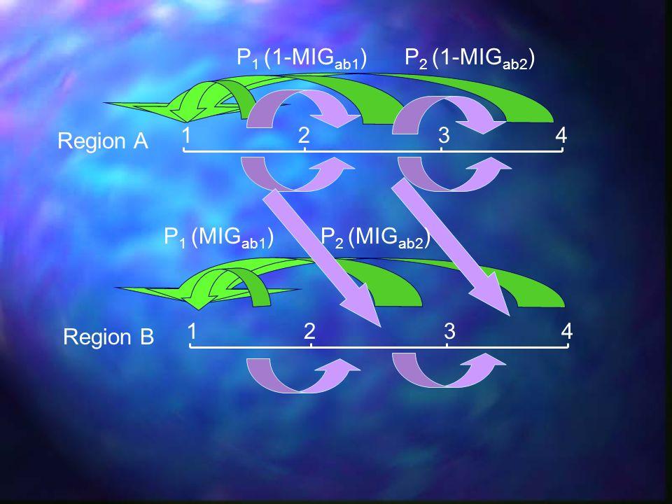 1234 1234 Region A Region B P 1 (MIG ab1 )P 2 (MIG ab2 ) P 1 (1-MIG ab1 )P 2 (1-MIG ab2 )