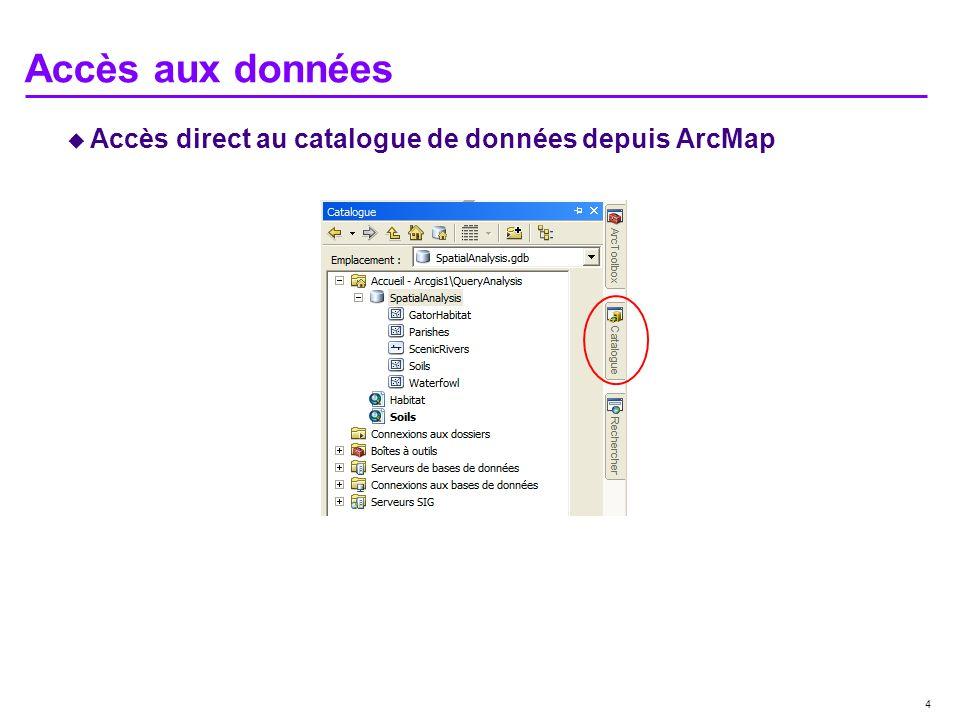 4 Accès aux données Accès direct au catalogue de données depuis ArcMap