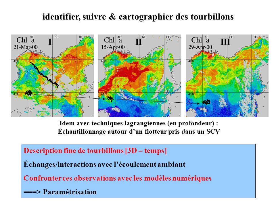 identifier, suivre & cartographier des tourbillons Description fine de tourbillons [3D – temps] Échanges/interactions avec lécoulement ambiant Confron