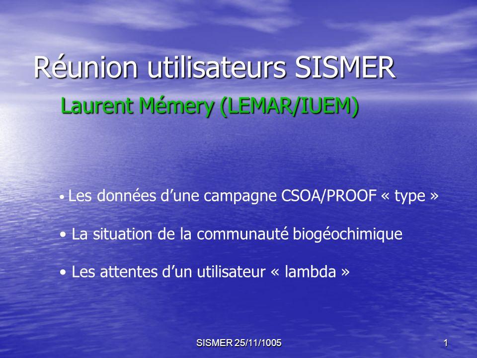 SISMER 25/11/10051 Réunion utilisateurs SISMER Laurent Mémery (LEMAR/IUEM) Les données dune campagne CSOA/PROOF « type » La situation de la communauté biogéochimique Les attentes dun utilisateur « lambda »