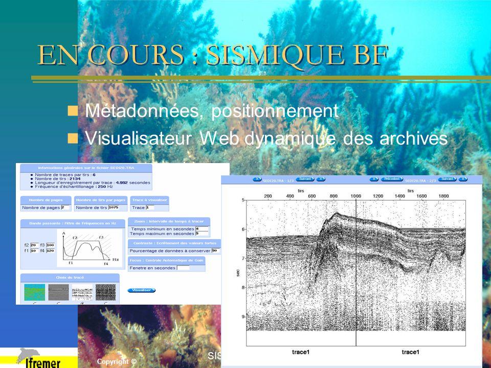 Copyright © SISMER Forum 200512 EN COURS : SISMIQUE BF Métadonnées, positionnement Visualisateur Web dynamique des archives