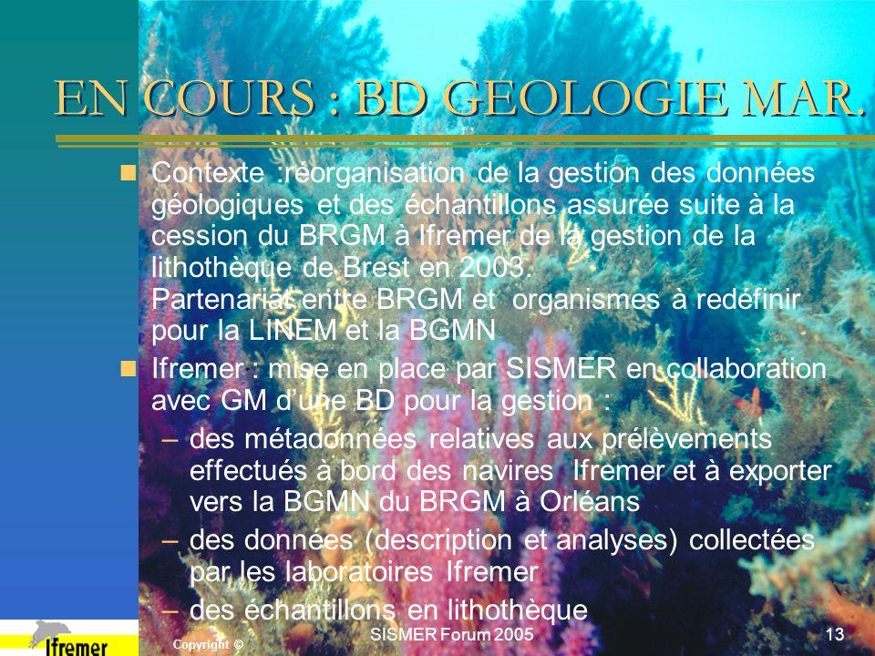 Copyright © SISMER Forum 200513 EN COURS : BD GEOLOGIE MAR. Contexte :réorganisation de la gestion des données géologiques et des échantillons assurée