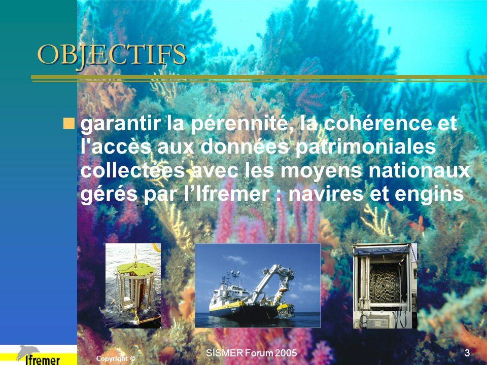 Copyright © SISMER Forum 20053 OBJECTIFS garantir la pérennité, la cohérence et l'accès aux données patrimoniales collectées avec les moyens nationaux