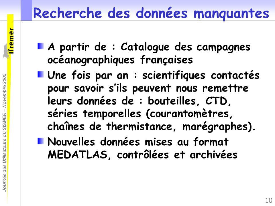 Journée des Utilisateurs du SISMER – Novembre 2005 10 Recherche des données manquantes A partir de : Catalogue des campagnes océanographiques français
