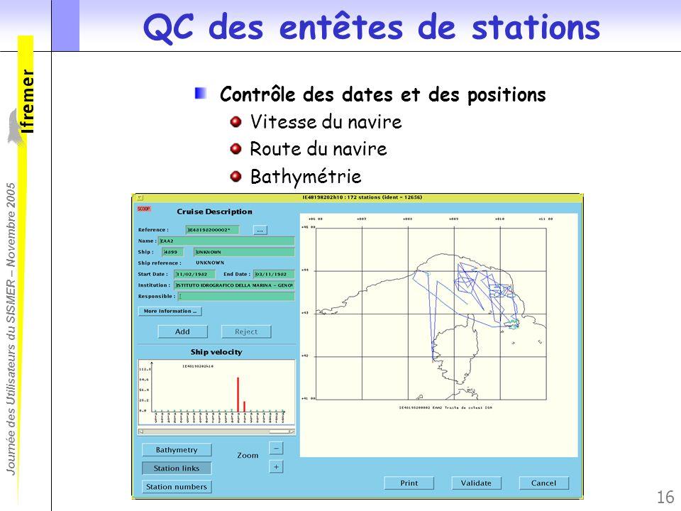 Journée des Utilisateurs du SISMER – Novembre 2005 16 QC des entêtes de stations Contrôle des dates et des positions Vitesse du navire Route du navire