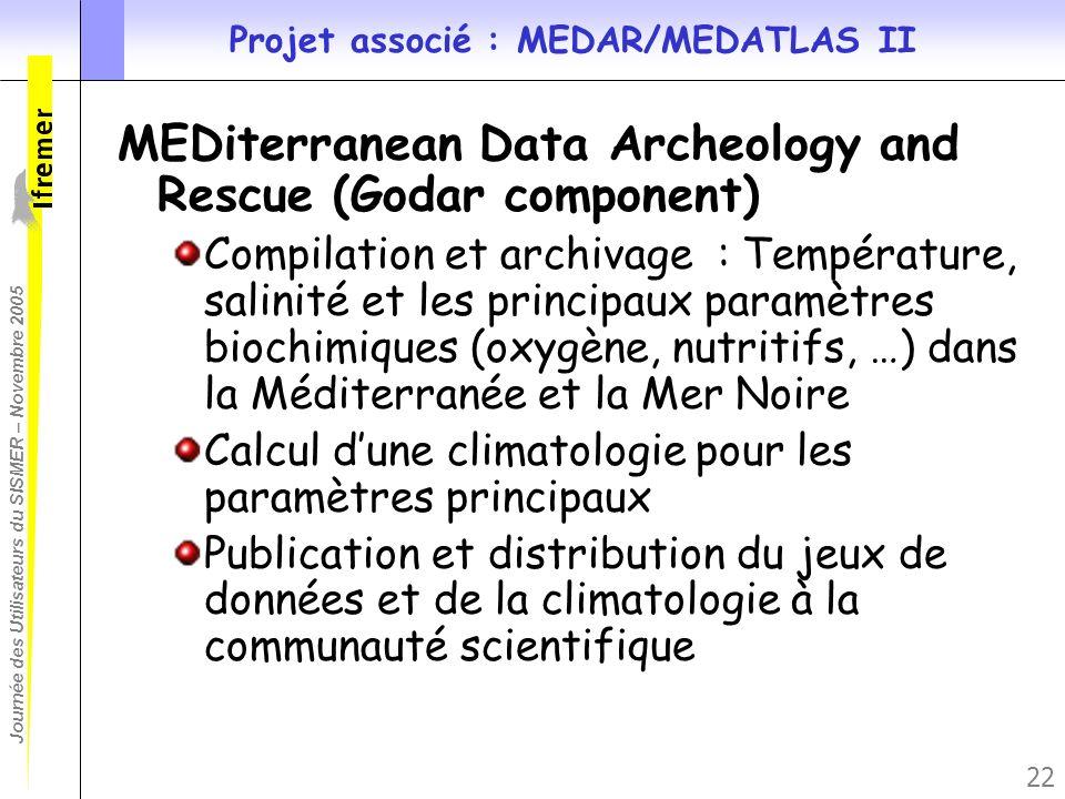 Journée des Utilisateurs du SISMER – Novembre 2005 22 Projet associé : MEDAR/MEDATLAS II MEDiterranean Data Archeology and Rescue (Godar component) Co