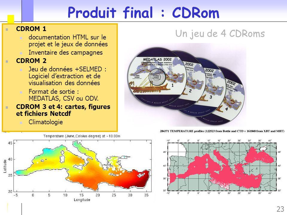 Journée des Utilisateurs du SISMER – Novembre 2005 23 CDROM 1 documentation HTML sur le projet et le jeux de données Inventaire des campagnes CDROM 2