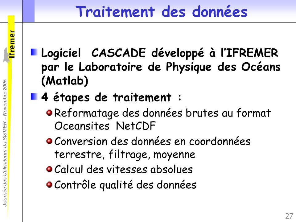 Journée des Utilisateurs du SISMER – Novembre 2005 27 Traitement des données Logiciel CASCADE développé à lIFREMER par le Laboratoire de Physique des