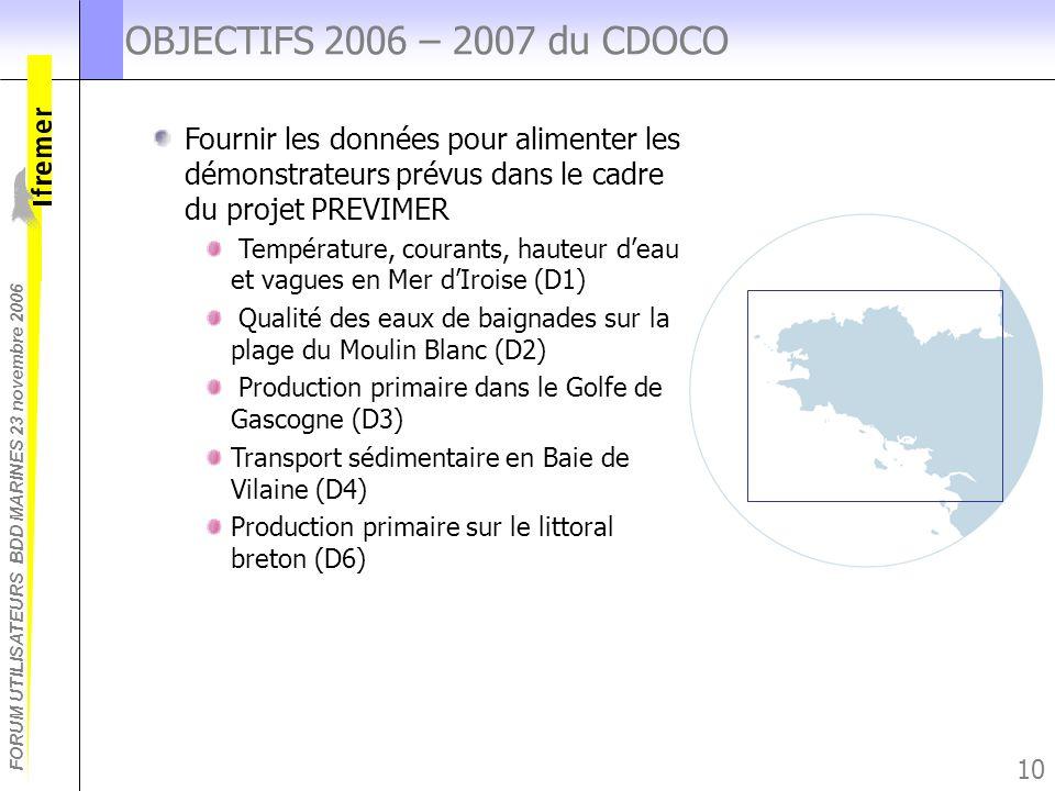 FORUM UTILISATEURS BDD MARINES 23 novembre 2006 10 OBJECTIFS 2006 – 2007 du CDOCO Fournir les données pour alimenter les démonstrateurs prévus dans le