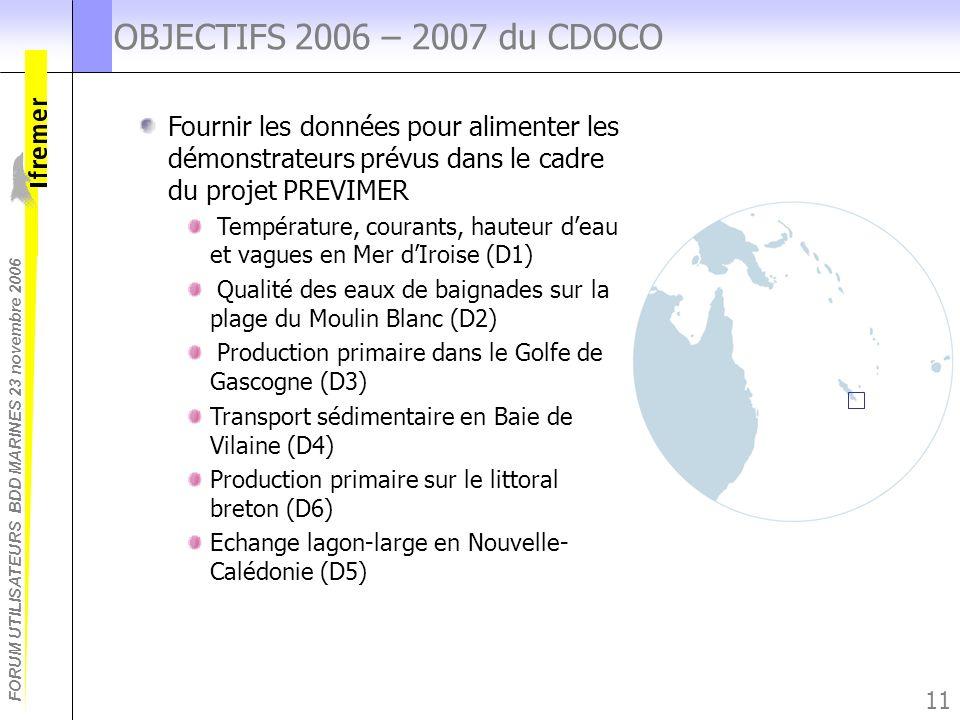 FORUM UTILISATEURS BDD MARINES 23 novembre 2006 11 OBJECTIFS 2006 – 2007 du CDOCO Fournir les données pour alimenter les démonstrateurs prévus dans le
