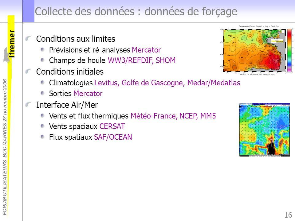 FORUM UTILISATEURS BDD MARINES 23 novembre 2006 16 Collecte des données : données de forçage Conditions aux limites Prévisions et ré-analyses Mercator