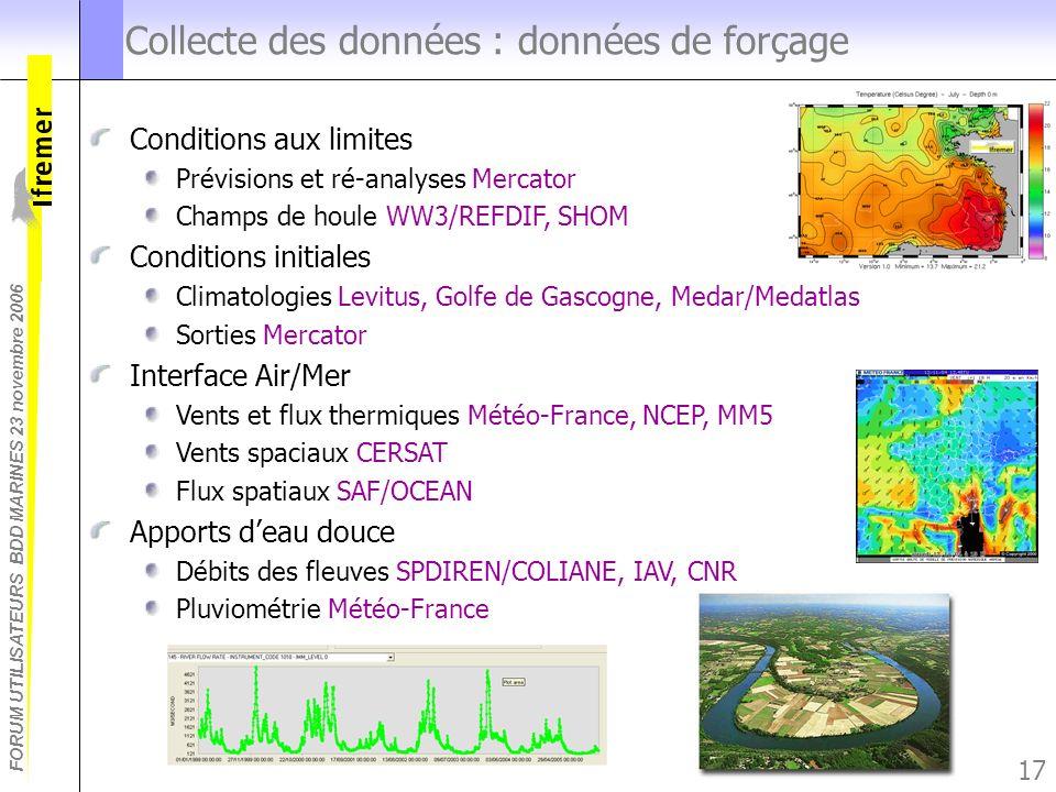 FORUM UTILISATEURS BDD MARINES 23 novembre 2006 17 Collecte des données : données de forçage Conditions aux limites Prévisions et ré-analyses Mercator