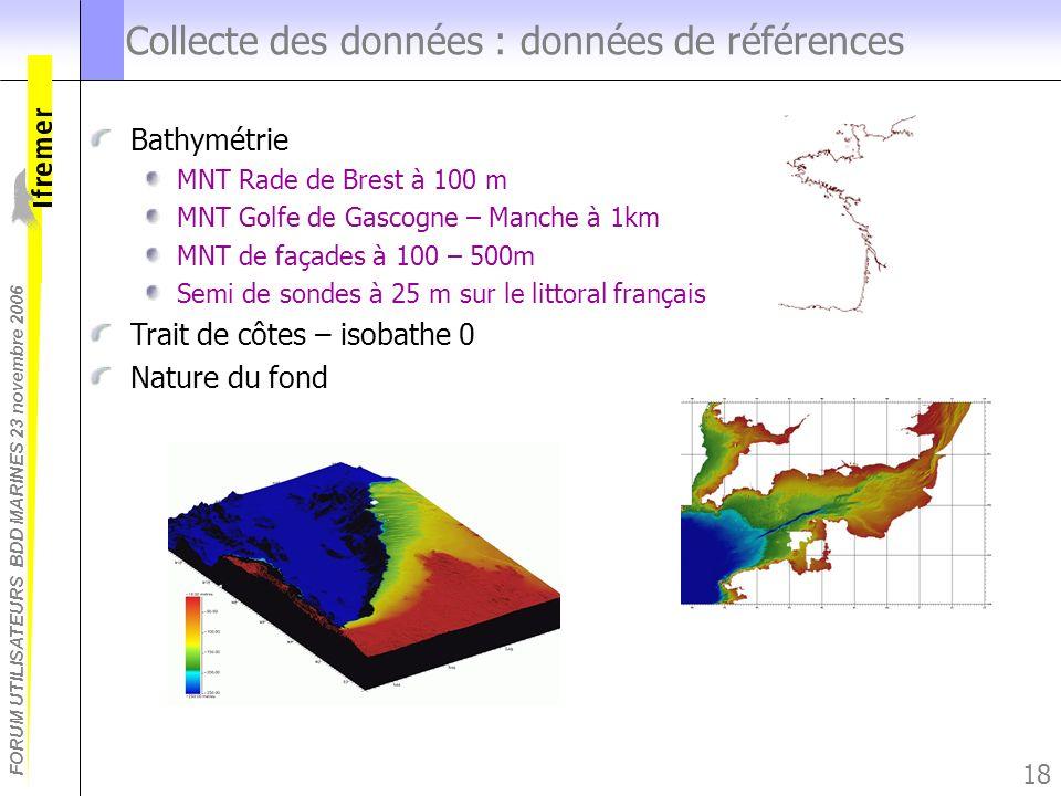 FORUM UTILISATEURS BDD MARINES 23 novembre 2006 18 Collecte des données : données de références Bathymétrie MNT Rade de Brest à 100 m MNT Golfe de Gas