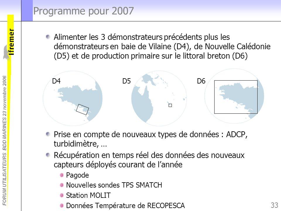 FORUM UTILISATEURS BDD MARINES 23 novembre 2006 33 Programme pour 2007 Alimenter les 3 démonstrateurs précédents plus les démonstrateurs en baie de Vi