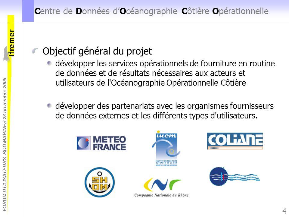 FORUM UTILISATEURS BDD MARINES 23 novembre 2006 4 Centre de Données dOcéanographie Côtière Opérationnelle Objectif général du projet développer les se
