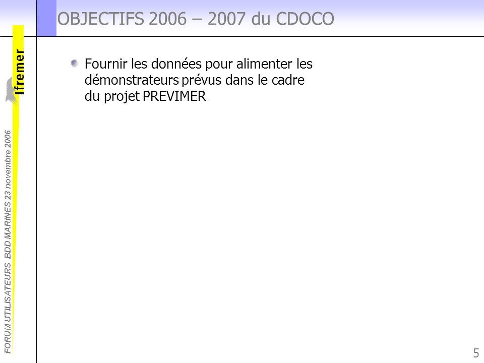FORUM UTILISATEURS BDD MARINES 23 novembre 2006 5 OBJECTIFS 2006 – 2007 du CDOCO Fournir les données pour alimenter les démonstrateurs prévus dans le