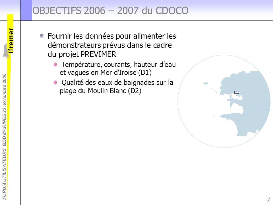 FORUM UTILISATEURS BDD MARINES 23 novembre 2006 7 OBJECTIFS 2006 – 2007 du CDOCO Fournir les données pour alimenter les démonstrateurs prévus dans le