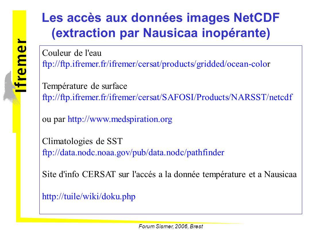 Les accès aux données images NetCDF (extraction par Nausicaa inopérante) Couleur de l'eau ftp://ftp.ifremer.fr/ifremer/cersat/products/gridded/ocean-c