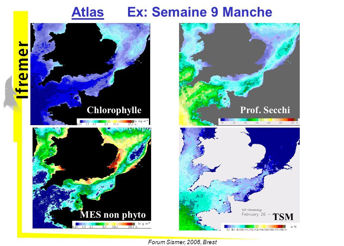 Forum Sismer, 2006, Brest Atlas Ex: Semaine 9 Manche Chlorophylle Prof. SecchiMES non phyto Chlorophylle TSM