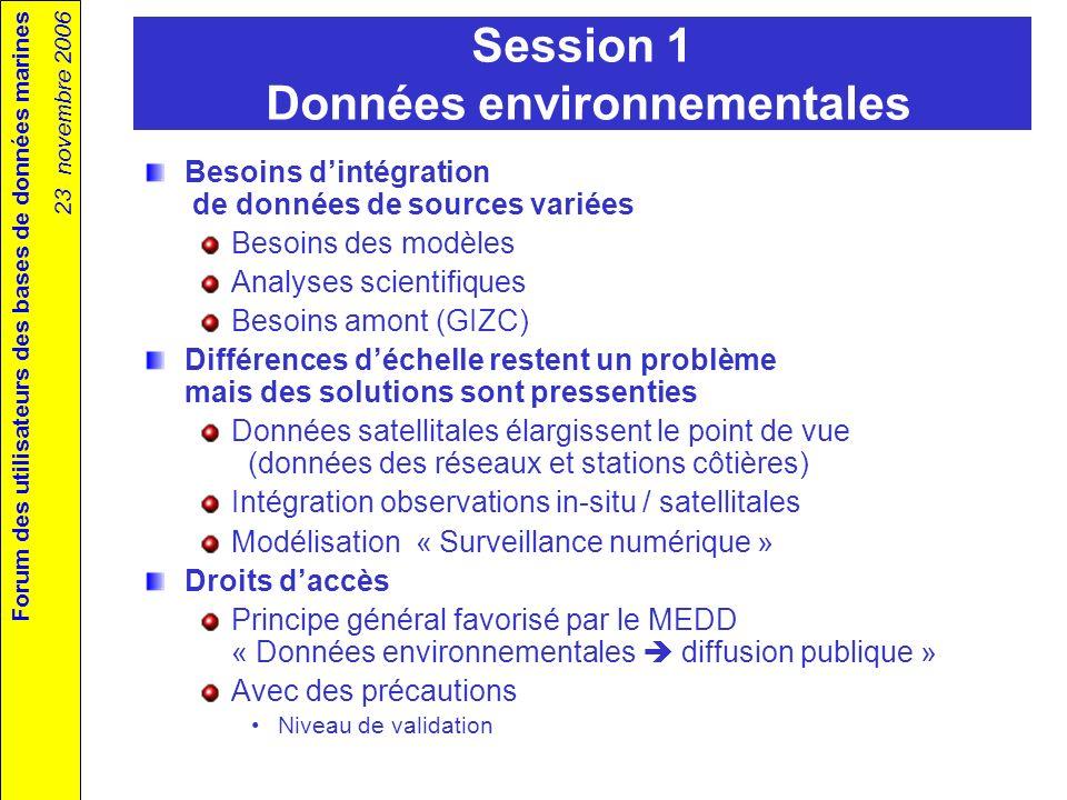 Forum des utilisateurs des bases de données marines 23 novembre 2006 Session 2 SIG Apport de la normalisation Métadonnées Interopérabilité technique Harmonisation nécessaire Référentiels (paramètres représentés, …) Représentations Échelles Comment avancer .