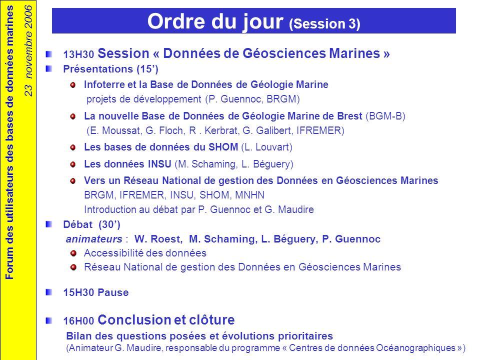 Forum des utilisateurs des bases de données marines 23 novembre 2006 2 ème forum des utilisateurs des bases de données marines Ifremer