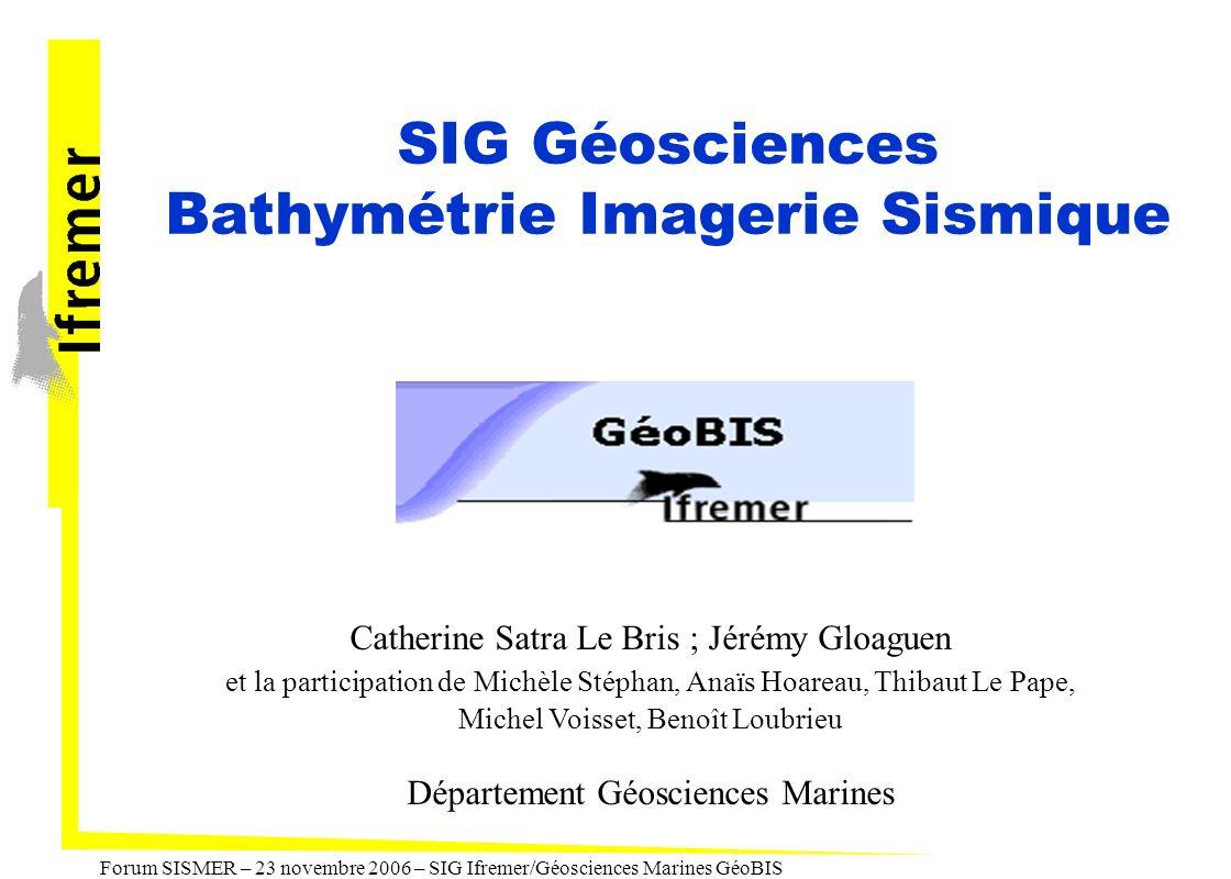 Forum SISMER – 23 novembre 2006 – SIG Ifremer/Géosciences Marines GéoBIS Les besoins, les choix Administration et archivage des données - profils de navigation, - points de prélèvement, - MNT de bathymétrie, - mosaïques d imagerie acoustique, - profils sismiques.