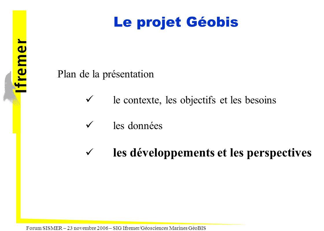 Forum SISMER – 23 novembre 2006 – SIG Ifremer/Géosciences Marines GéoBIS Le projet Géobis Plan de la présentation le contexte, les objectifs et les be